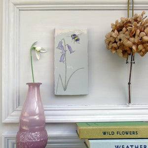 Bluebell and Bee ceramic wall art