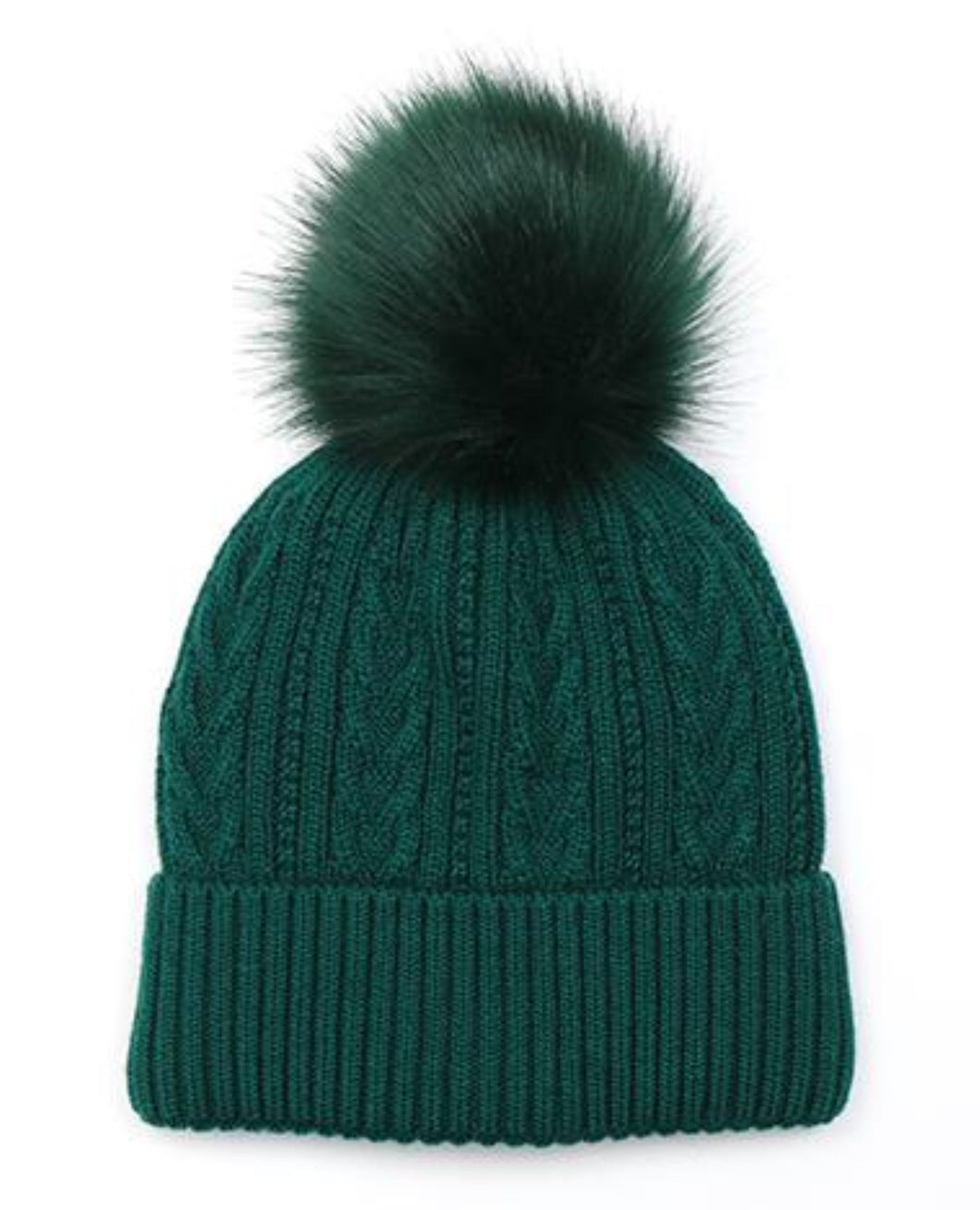 Emerald Green cable knit faux fur bobble hat