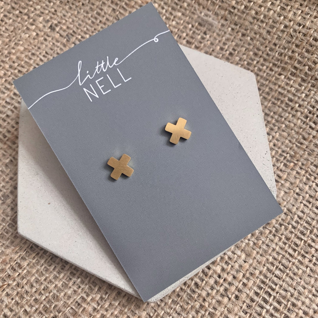 Minimal Gold or Silver Cross Studs