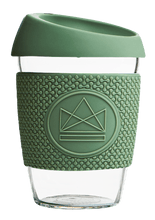Load image into Gallery viewer, Reusable Glass Cup 12oz Happy Camper Green