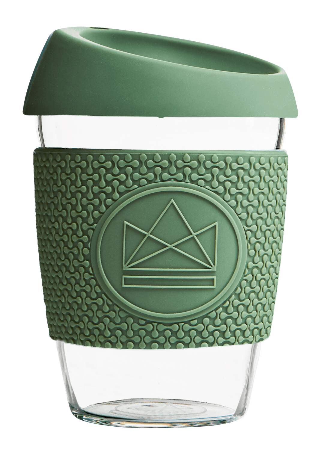 Reusable Glass Cup 12oz Happy Camper Green