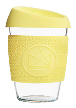 Load image into Gallery viewer, Reusable Glass Cup 12oz Yellow - Sun is Shining