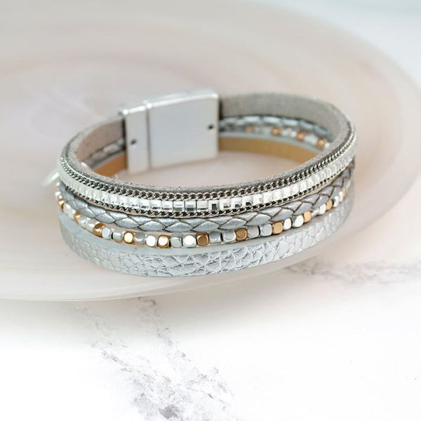Metallic grey leather bracelet with square crystals