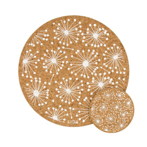 Dandelion cork coasters and placemats