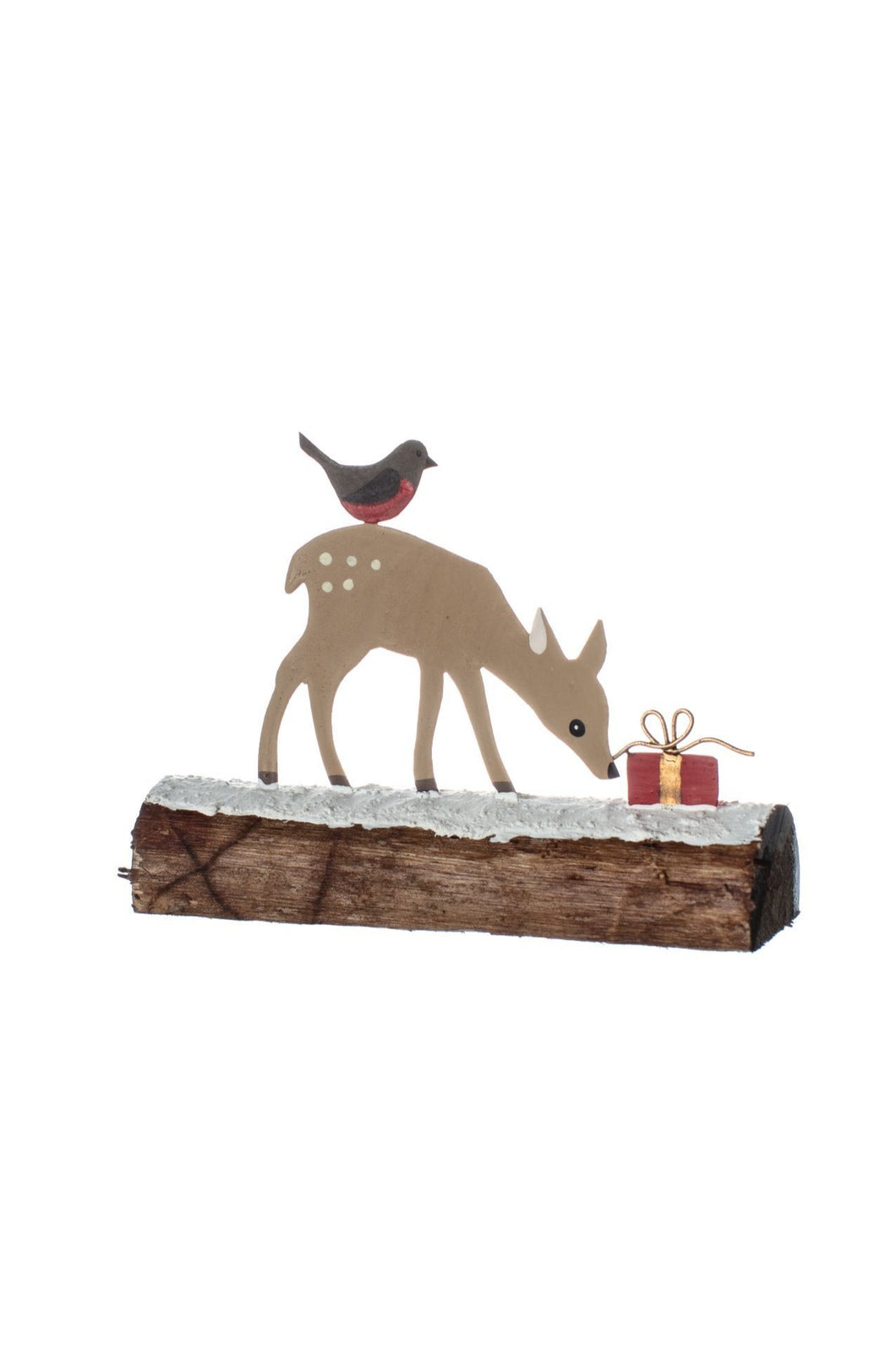 Fawn with Gift Christmas Decoration
