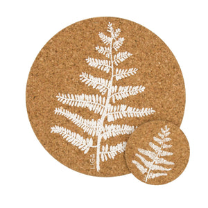 Fern cork coasters and placemats
