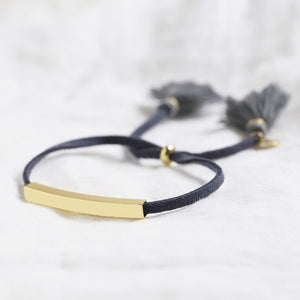 Gold bar and navy suede cord bracelet