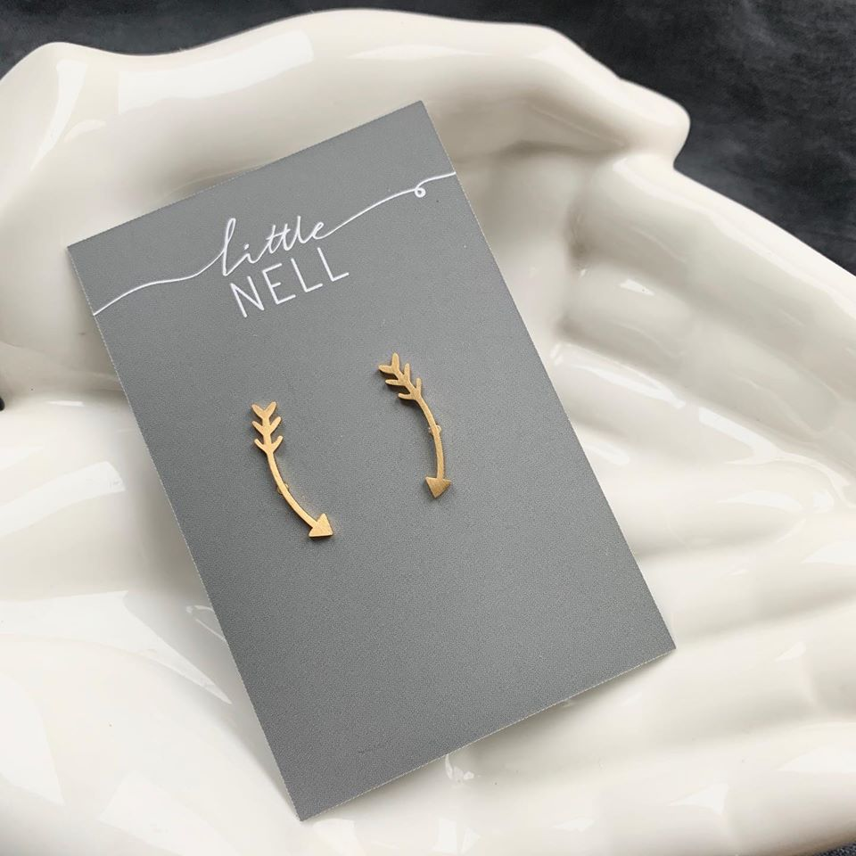 Gold or Silver Arrow Climber Earrings