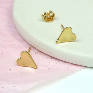 Gold plated sterling silver heart stud earrings