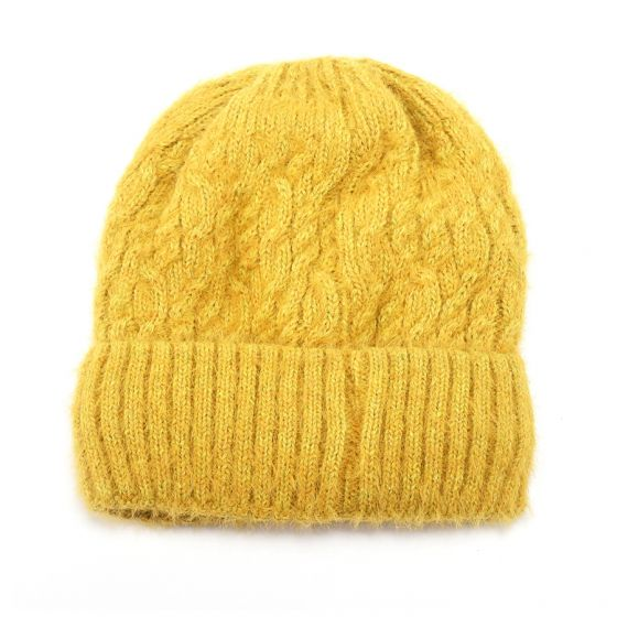 Yellow knitted hat with fleece lining