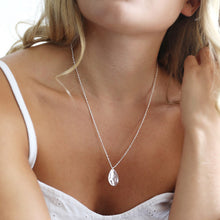 Load image into Gallery viewer, Hammered silver teardrop pendant necklace