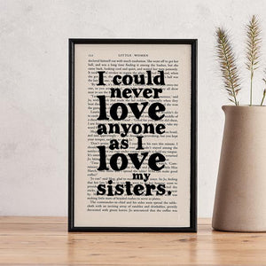 I Love My Sisters - book page print