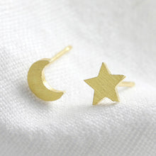Load image into Gallery viewer, Mismatched gold moon and star stud earrings