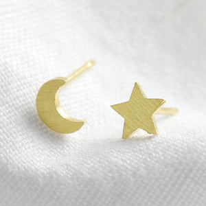 Mismatched gold moon and star stud earrings
