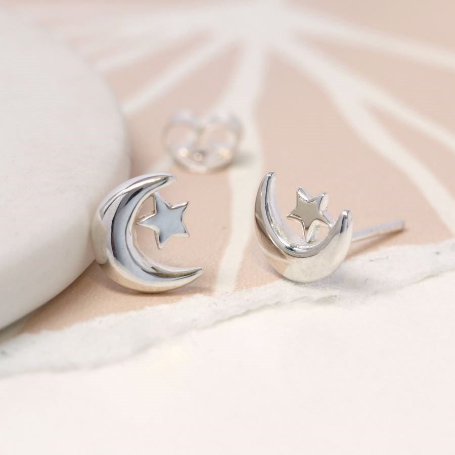 Sterling silver Moon and Star stud earrings