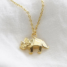 Load image into Gallery viewer, Gold Triceratops Necklace