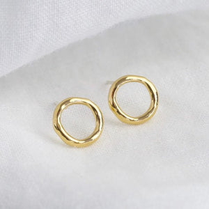 Organic shape open circle studs in gold