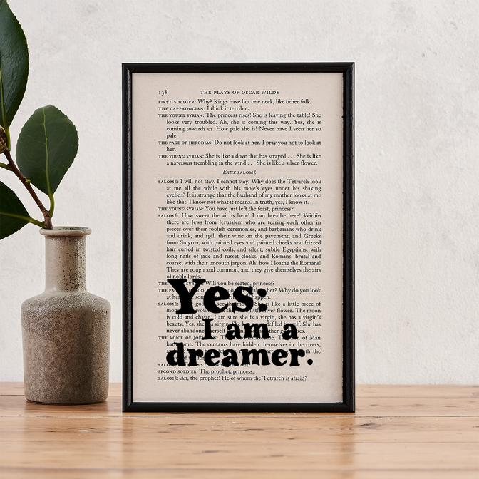 Yes I Am A Dreamer - book page print