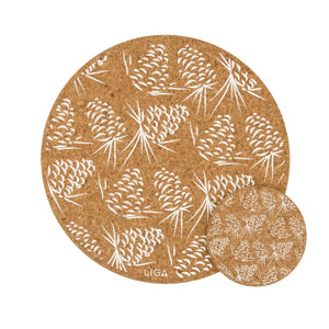 Pinecone cork placemats