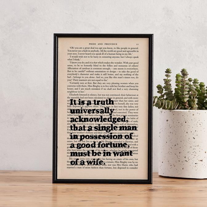A Truth Universally Acknowledged - book page print