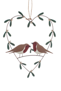 Heart Christmas Wreath with Mistletoe and Robins