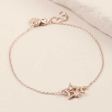 Rose gold interlocking stars bracelet