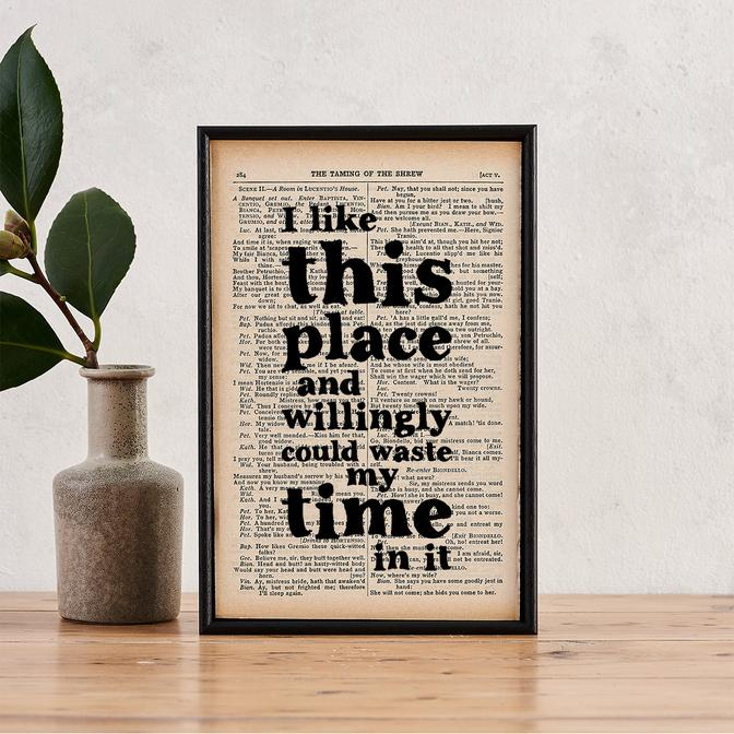 I Like This Place - book page print