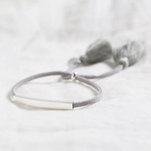 Silver bar and grey suede cord bracelet