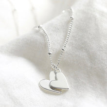 Load image into Gallery viewer, Silver falling heart charms necklace