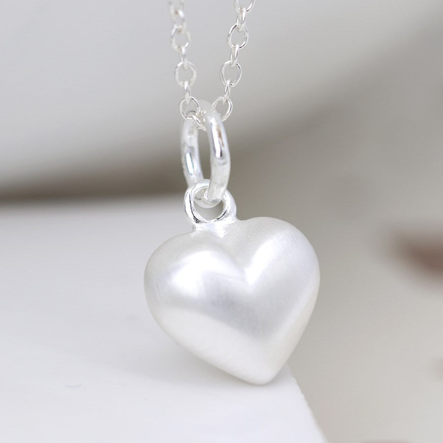 Silver brushed heart necklace