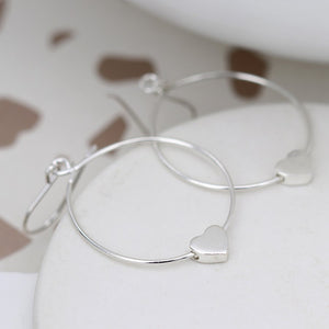 Silver hoop heart earrings