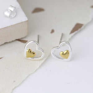 Silver and Gold double heart stud earrings