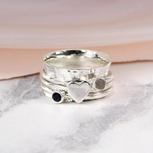 Load image into Gallery viewer, Sterling silver, gemstone and silver heart spinning ring