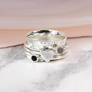 Sterling silver, gemstone and silver heart spinning ring