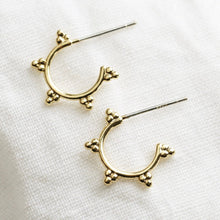 Load image into Gallery viewer, Small gold triple orb hoop earrings