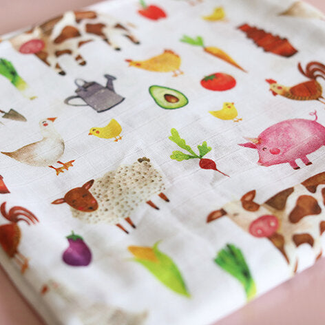 Farmyard Muslin Swaddle Blanket
