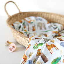 Load image into Gallery viewer, Safari Muslin Swaddle Blanket