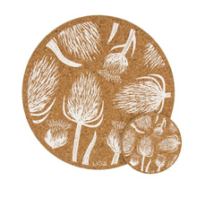 Load image into Gallery viewer, Thistles & Teasels cork coasters and placemats