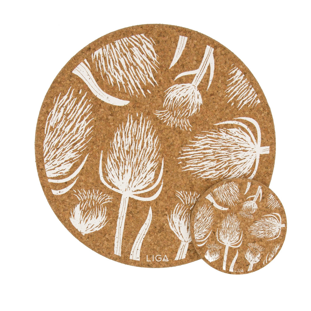 Thistles & Teasels cork coasters and placemats