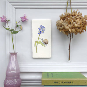 Snail and Forget me Not ceramic wall art