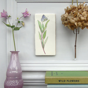 Sage and Butterfly ceramic wall art