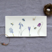 Load image into Gallery viewer, Rectangular Trinket Tray - bees and spring flowers