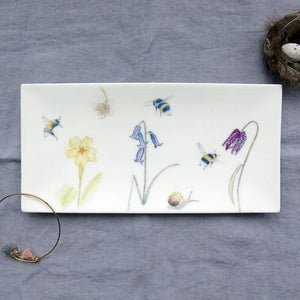 Rectangular Trinket Tray - bees and spring flowers