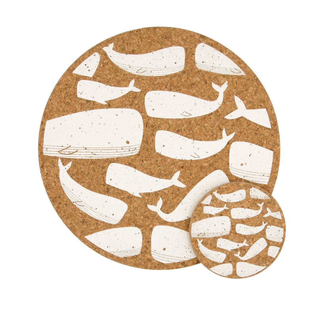 Whale cork coasters and placemats