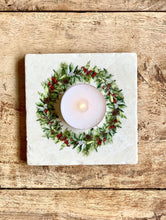 Load image into Gallery viewer, Festive Wreath natural marble stone coaster
