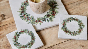 Festive Wreath natural marble stone platter