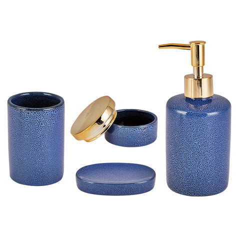 Karaca Blue 4-piece bathroom set