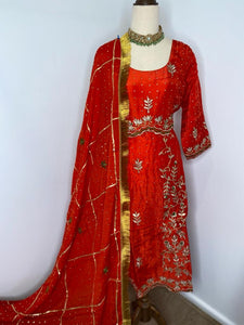 Red Frock style Salwar Suit