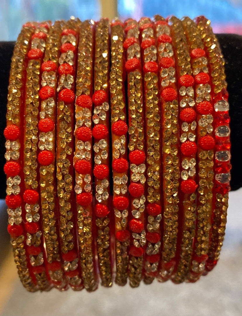 Red, Golden & Silver bangles