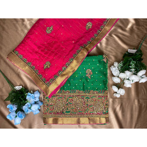 Green & Magenta unstitched suit with heavy Dupatta
